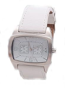 Men's Rectangular White Leather Band Fashion Watch