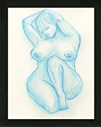 Original Art Light Blue Boudoir BBW Voluptuous Curvy Woman Nude Female Watercolor Painting with black wood frame