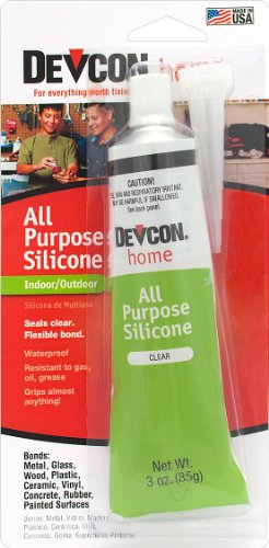 Devcon 25045 All Purpose Clear Silicone Adhesive, 3-Ounce