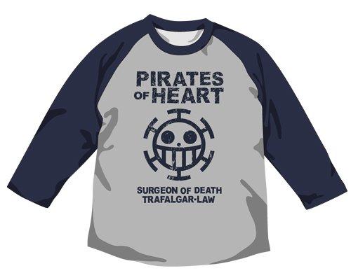 Pirates Raglan T-Shirt Heather Gray X Navy Size One Piece Heart: Xl (Japan Import)