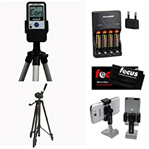 "Pocket Radar Ball Coach / Pro-Level Speed Training Tool and Radar Gun + Focus Full Sized 59"" Photo & Video Tripod + Square Jellyfish Pocket-Sized Spring Tripod Mount for Smartphones 2-1/4 - 3-5/8"" Wide + Accessory Kit"