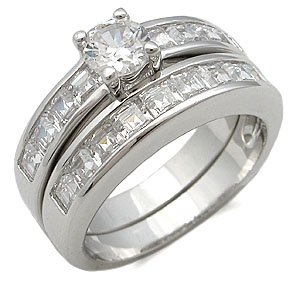 CZ Wedding Rings - Round and Princess Cut CZ Wedding Set Size 5