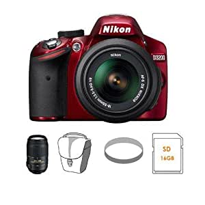 Nikon D3200 Digital SLR Camera & 18-55mm G VR DX AF-S Zoom Lens (Red) with 55-300mm VR DX Lens