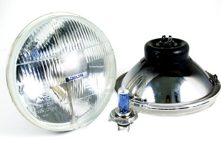 """Classic"" 7"" H4 Hi/Lo Beam 60/55W Headlights, W/High Output Led Drl Lights"