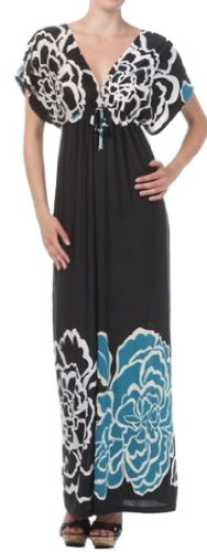 Focapvbigflower8809 Big Flower On Solid Black Graphic Print V-Neck Cap Sleeve Empire Waist Long / Maxi Dress - Teal, One Size
