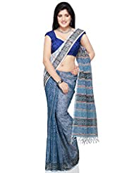 Utsav Fashion Women's Off White, Light Blue And Dark Blue Pure Cotton Handloom Khesh Saree
