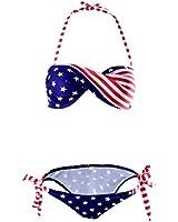 Sexy Bandeau Maillot de Bain tenue de plage Femme USA Drapeau 2 Pieces Haut et bas Bandeau Bikini Fluo Diving Suit Swimwear