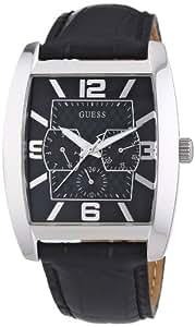 Guess - W80009G1 - Montre Homme - Quartz Analogique - Cadran Noir - Bracelet Cuir Noir