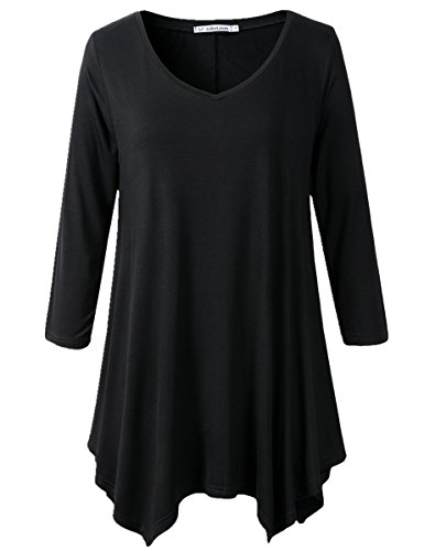 JollieLovin Womens Plus Size 3/4 Sleeve V-neck Flare Hem Loose-fit Tunic Top (1X, A BLACK) (Black Plus Size Tops compare prices)