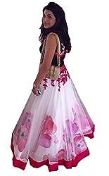 The Zeel Fashion white Color Net Anarkali Unstitched lehenas set