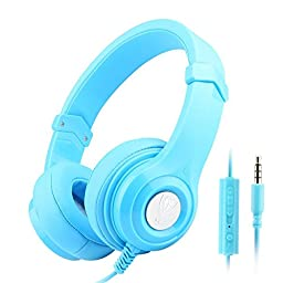 Darkiron N8 Headphones Headset with In-line Mic and Volume Control, Extremely Soft Ear Pad, Cute Earphones for Cellphone Smartphone Iphone/ipad/laptop/tablet/computer/MP3/MP4/etc. (Blue)