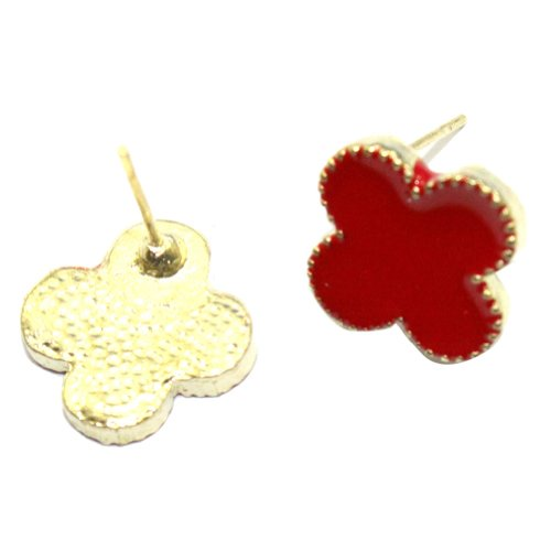 Zehui NEW Fashion Red Korea Style Cute Enamel Clover Golden Alloy Stud Earrings