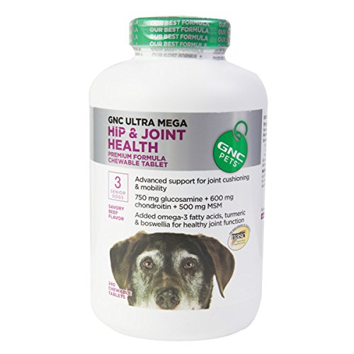 GNC Pets Ultra Mega Hip & Joint Health Premium Formula for Senior Dogs (Savory Beef) - 240 Chewable Tablets (The Ten Pound Ticket compare prices)