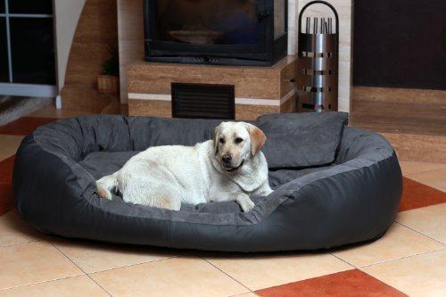 Bild von: Ph6-AL-02 PHILIP BIG Hundesofa Hundebett Gr. XXXL 1,7 Meter 170cm GRAU GRAPHIT Kunstleder Velours Dogge