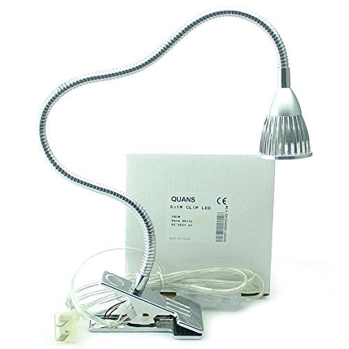 QUANS 5W 5x1W Warm White 50 CM 19.68 INCH Tube Clip on Desk Flexible Table Bed Lamp Work High Power LED Light Home Design lighting Silver 110V 220V 85-265VAC with US Plug switch on off 500LM 3000K 3500K (Sewing Work Light compare prices)