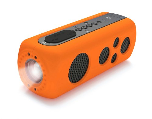 Pyle Pwpbt75Or Sound Box Splash 2 Bluetooth Rugged And Splash-Proof Speaker System With Built-In Flashlight And Hand-Crank Charger, Orange