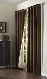 """Media Suede Insulated Solid Color Grommet Top Curtain Panel in Chocolate Size: 95"""" H x 50"""" W"""