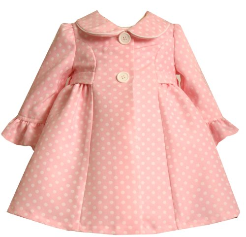 Bonnie Jean Girls 2-6X Allover White Dots Dress And Coat Set, Pink, 3T