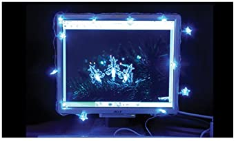 Snow White USB Powered 15 Snowflake LED Lights, Clear Blue