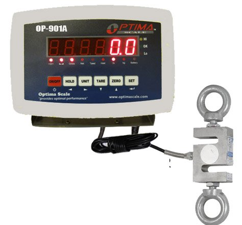 Optima Scale OP-926, 2,000 LB x 0.2 LB Hanging S-Hook Crane Scale