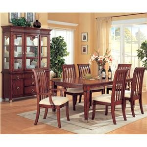 Buy Low Price Coaster Elegant Dining Table with Chairs and Glass Buffet (B0040Z6F0U)