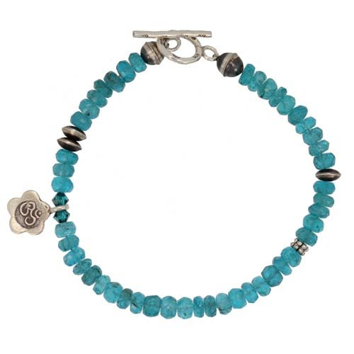 Blue Apatite Gemstone Beaded Bracelet with Sterling Silver OM Charm, 7 3/4