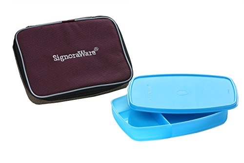 Signoraware Slim Lunch Box with Bag, 610ml, T Blue