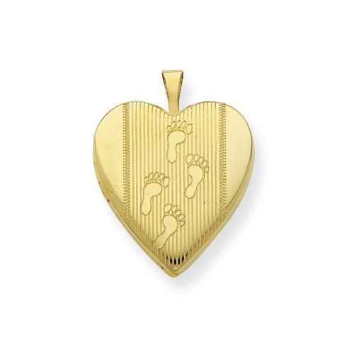 Gold Plated Sterling Silver 20mm Footprints Heart Locket