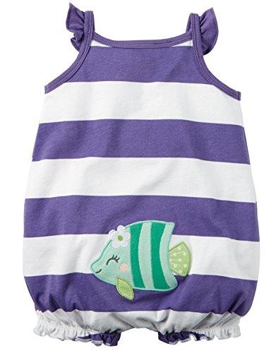 Carter's Baby Girls 1-piece Appliqué Snap-Up Cotton Romper (6 Months, Purple Stripe)