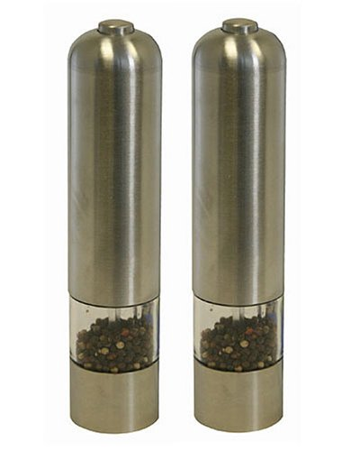 iTouchless Automatic Stainless Steel Pepper Mill and Salt Grinder (2 Pack)