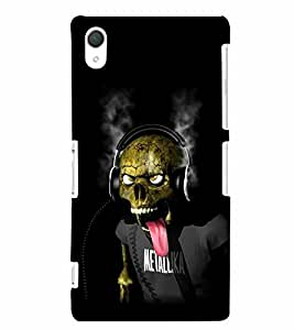 PrintVisa Quotes & Messages Music Skull 3D Hard Polycarbonate Designer Back Case Cover for Sony Xperia Z2