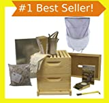 Bee Hive - 8 Frame Deluxe Beehive Starter Kit and Beekeeping Supplies - Perfect Hives for Beginners and Pros + FREE Lesson Book for New Beekeepers! Our Beekeeper Kits for Honey Bees are Easy-to-lift Wood Beehives with Quality Equipment - Boxes, Frames, Smoker, Fuel, Veil, Gloves Fitting Any Suit. QUALITY GUARANTEED or Your Money Back!