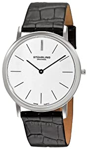 Stuhrling Original Men's 601.33152 Classic Ascot Swiss Quartz Ultra Thin Stainless Steel Silver Dial Black Leather Strap Watch