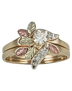 10k Yellow Gold Diamond Engagement Ring and Wedding Band Set with 12k Green and Rose Gold(.21 Cttw, IJ Color, SI1 Clarity), Size 5