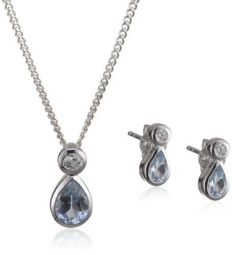Silver Pendant Necklace and Earrings Set with Teardrop Sky Blue Topaz and CZ
