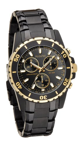 Accurist Gents Chronograph Black Stainless Steel Bracelet Watch MB800B