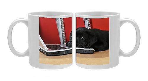 Photo Mug Of Jd-21107 Dog. Black Labrador Puppy (8 Weeks Old ) On A Laptop Computer front-609283