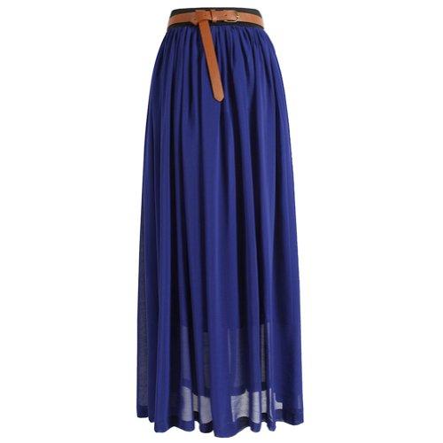 Eyourlife2012 Women'S Pleated Long Chiffon Waist Maxi Boho Summer Beach Skirt Dress