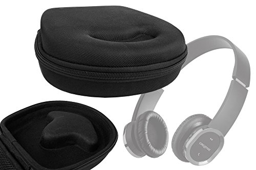 Duragadget Classic Black Rigid Shell Protective Headphone Storage Case Suitable For Creative Wp-350 & Wp-450 Bluetooth Wireless Headphones