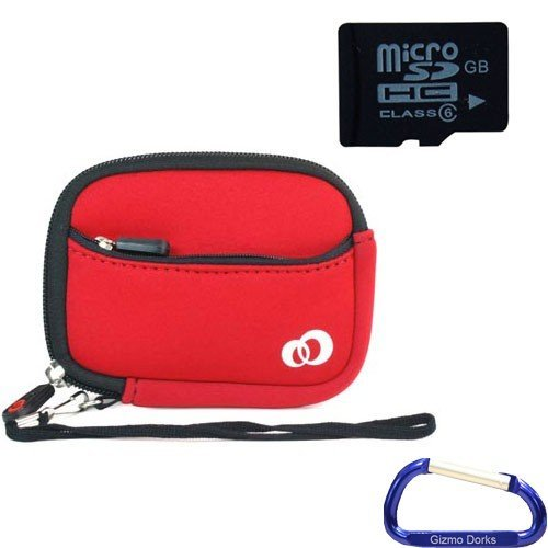 Gizmo Dorks Soft Neoprene Zipper Case (Red) and 4 GB microSD Memory card (SD Adapter included) with Carabiner Key Chain for Digital Cameras