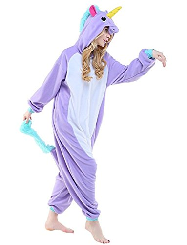 HSTYLE Adulto Unisex Onesies Kigurumi Pigiama Animale Costumi Cosplay Cartoon Pigiama Viola Unicorn M
