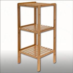 Wooden three tier free standing rack shelf storage solution kitchen home - Free standing kitchen storage solutions ...