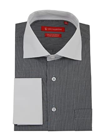 """Gino Valentino Men's Modern Stripe Dress Shirt in Gift Box 2-ply 100% Fine Cotton Spread White Collar Extra Collar Stays Long Sleeve French Cuff 2 Colors (15"""" Neck 32/33 Sleeve, Black / White)"""