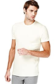 Short Sleeve Ribbed Thermal Vest with Wool
