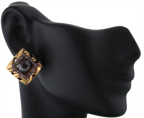 Ladies Gold Square with Black Square Iced Out Shape Stones Clip on Earrings
