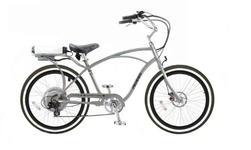 Pedego Silver Comfort Cruiser Classic Electric Bike with Black and Silver Rims Whitewall Tires