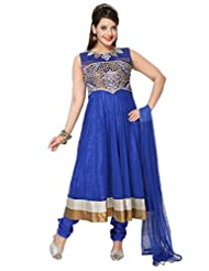Divinee Royal Blue Art Silk Shimmer And Net Readymade Anarkali Suit