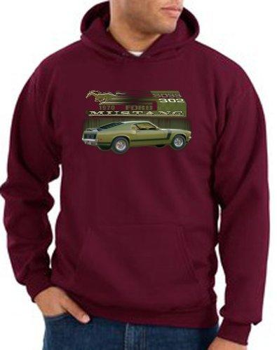 Ford Car 1970 Mustang Boss 302 Classic Adult Pullover Hooded Sweatshirt Hoodie Hoody - Maroon, Small
