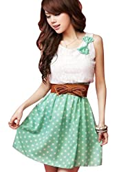 Asoidchi Ladies Scoop Neck Sleeveless Lace Upper Detail Casual Dress