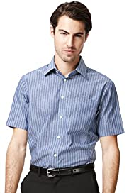 Collezione Cotton Rich Short Sleeve Striped Shirt with Linen